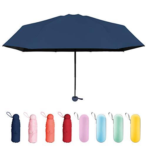 折り畳み傘 日傘 uvカット 晴雨兼用 超軽量 超撥水 超小型 携帯しやすい 遮光遮熱 耐強風 梅雨対策 ジッパーケース付き レディース (ネービー)