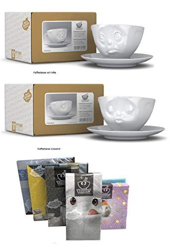FIFTYEIGHT PRODUCTS Kaffeetassen 2er Set + Servietten, 200 ml, KÜSSEND+Och Bitte