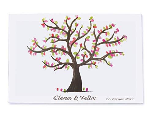 Handgemalter Fingerabdruck Hochzeitsbaum personalisiert auf Leinwand gedruckt und auf einem Keilrahmen gebunden / 40x30 cm / Gästebuch Wedding Tree Hochzeitsspiel Weddingtree Hochzeitsgästebuch