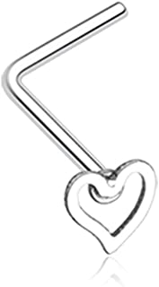 Dainty Heart Icon L-Shaped 316L Surgical Steel Nose Stud Ring (Sold Individually)