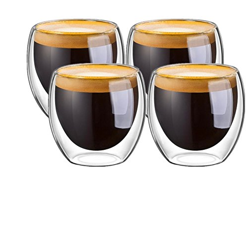Espresso Cups, Glass Cups Shot Glass Coffee Espresso Cups Cafecito Cups Double Wall Thermo Insulated Glass ,80 ML/2. 7 Ounce,Set of 4