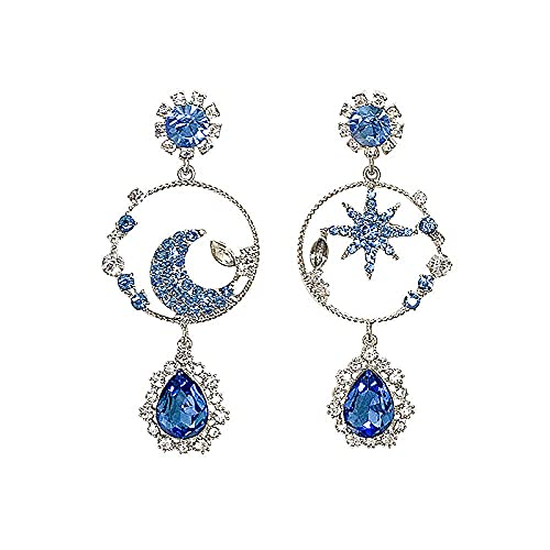 Pendientes para niñas, QWEA Fashion Blue Star Moon Pendientes colgantes Pendientes largos asimétricos de gota de agua Joyería elegante para mujer