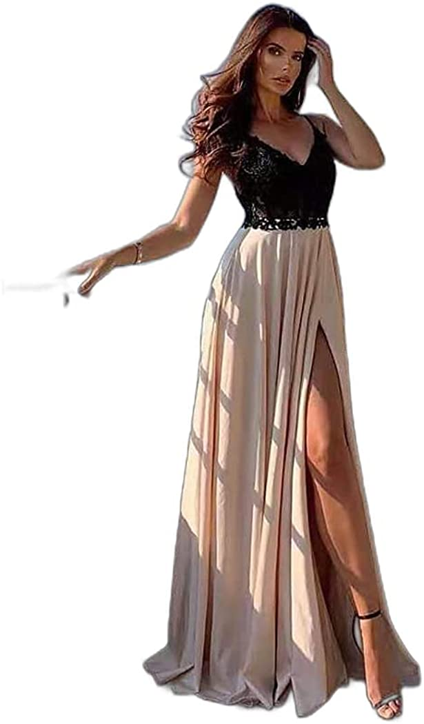 Women's Swing Dress Maxi Long Dress Black Sleeveless Solid Color Split Lace Patchwork