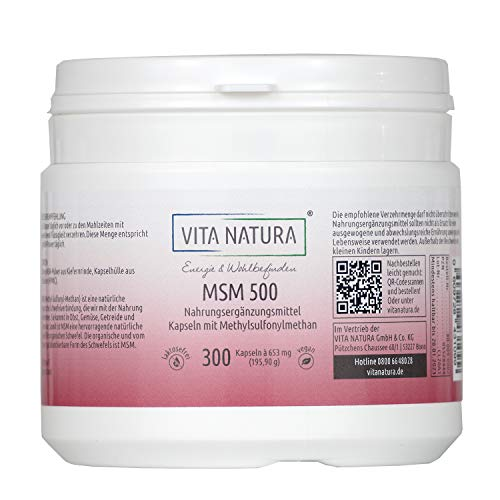VITA NATURA MSM Kapseln - organische Schwefelverbindung - Vegikapseln -500 mg - auch für Hunde und Pferde geeignet - 300 Kapseln in einer Packung