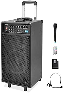 Pyle Pro 800 Watt Outdoor Portable Wireless PA Loud speaker - 10'' Subwoofer Sound System with Charge Dock, Rechargeable Battery, Radio, USB / SD Reader, Microphone, Remote, Wheels - PWMA1090UI