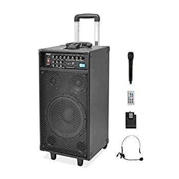 Pyle 800 Watt Outdoor Portable Wireless PA Loud speaker - 10   Subwoofer Sound System with Charge Dock Rechargeable Battery Radio USB / SD Reader Microphone Remote Wheels - PWMA1090UI