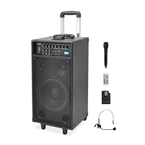 Pyle 800 Watt Outdoor Portable Wireless PA Loud speaker - 10'' Subwoofer Sound System with Charge Dock, Rechargeable Battery, Radio, USB / SD Reader, Microphone, Remote, Wheels - PWMA1090UI