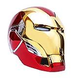 QWEASZER Casco electrónico Marvel Iron Man, Vengadores Iron Man Casco máscara Halloween película Cosplay Disfraz Accesorios Casco portátil Armadura 1: 1,Gold Iron Man Helmet Mask-<60cm