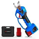 KOMOM Tijeras de Podar Eléctricas con Indicador LED, Batería de Litio de 2 Ah, Diámetro de corte de 25 mm(0.98 Pulgada), 6-8 Horas de Trabajo(Azul)