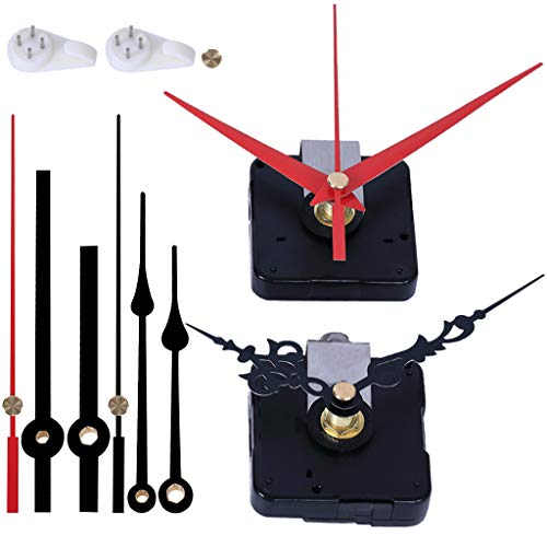 EMOON 2 Pack Wall Clock Movement Mechanism with 4 Pack Clock Hands, Silent Sweep Quartz Clock Motor Kit, for Clock Repair DIY Replacement, Custom Clock (Shaft Length 5/8 in)