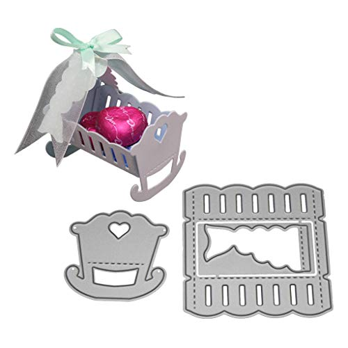 Luluspace Stanzschablonen Metall Stanzformen 3D Baby Cot Silber Schneiden Schablonen Für DIY Cutting Dies Scrapbooking Album, Schneiden Schablonen Papier Karten Sammelalbum Deko