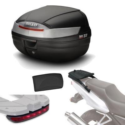 Sh37lurehe165 - Kit fijacion + Maleta baul Trasero + luz de Freno + Respaldo Regalo sh37 Compatible con Yamaha nmax 125 2015-2017