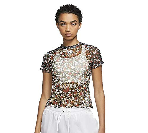 NIKE W NSW Top SS Mesh AOP Femme Short Sleeve, Mujer, firewood Orange, L