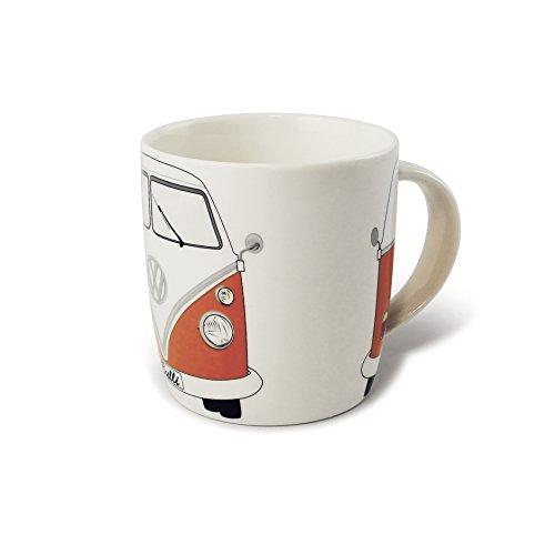 Brisa VW Collection - Volkswagen Bulli Bus T1 Kaffee-Tee-Tasse-Becher für Küche, Werkstatt, Büro - Camping-Zubehör/Geschenk-Idee/Souvenir (Motiv: Front/Orange/Weiß)
