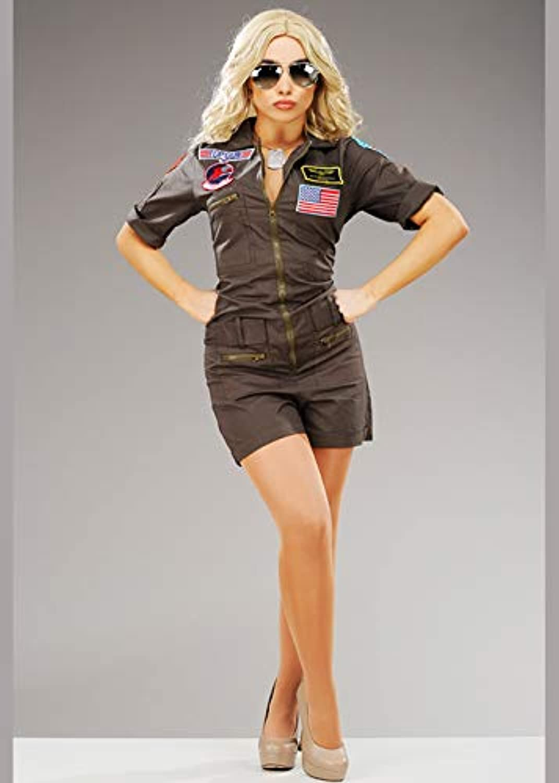Magic Box Womens Deluxe Top Gun Fighter Pilot Costume (Small (UK 810))