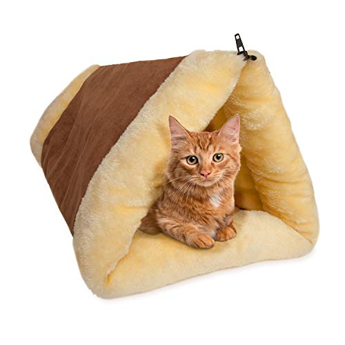 Cat Bed 2-in-1 Fleece Tunnel Tube Cave- Best for Indoor Cats Kitten Pet Self Warming Igloo Covered Mat Pad