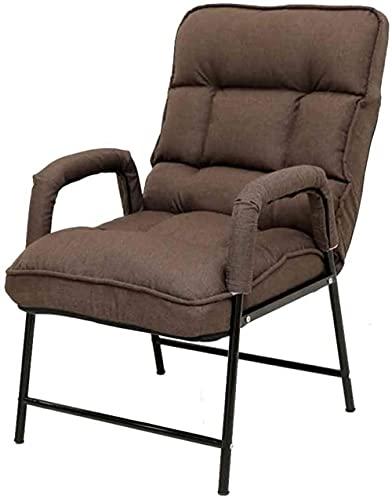 Silla de salón plegable con respaldo ajustable para el almuerzo, para la oficina, adecuado para el dormitorio, el hogar, la silla de salón perezosa con reposapiés Durable-Brown_sin reposapiés