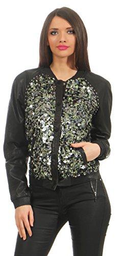 Scotch & Soda Maison Lederjacke Blouson mit Paillettenbesatz Schwarz Echtleder Leder Jacket Jacke (XL)