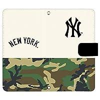 AQUOS sense SH-01K ケース [デザイン:24.NY(白×迷彩)/マグネットハンドあり] ニューヨークヤンキース NY アクオス sh01k 手帳型 スマホケース スマホカバー 手帳 携帯 カバー