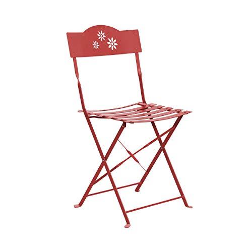 Butlers Daisy Jane Klappstuhl - roter Stuhl aus Eisen - Garten und Balkon - klassicher Retro-Stil