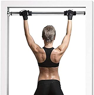 IBS Pull up Gym Bar Adjustable 64-100 cm Upperbody Strength, arms, Shoulders and abs with Comfortable Hand-Grip Cushioned Grips Color- Black/Silver