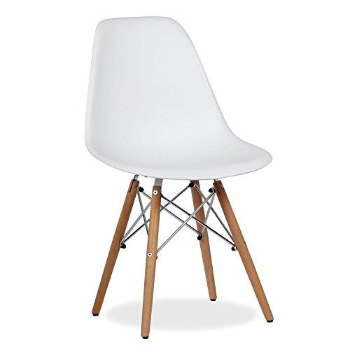 Lo+DeModa Wooden Set di 2 Sedia, Polipropilene/Faggio/Acciaio, Bianco, 60 x 58 x 3.8 cm
