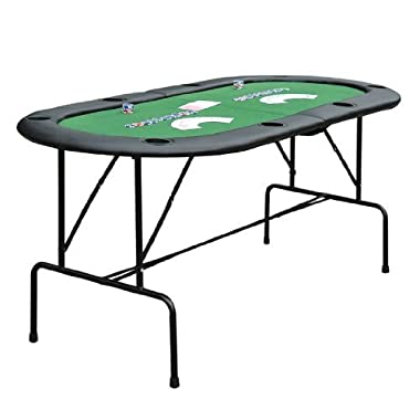 HomCom Deluxe Foldable 72 in. Oval Poker and Game Table