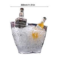 アイスバケツ 大型透明アイスバケツポータブル冷蔵庫ビールシャンパンワインバケットアイスグレインバケツバーふたの省スペースのキューブメーカーツール パーティー、バー、ホームバーのために (Color : 6L double holes)