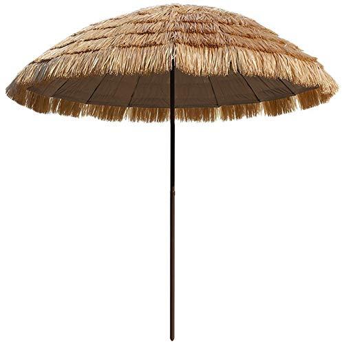 Parasol 250cm en Paille Rond Hawaii Tiki Extérieur Hula Danse Raphia Chaume Parapluie Table De Jardin Parapluie pour Patio Plage Piscine - Couleur Naturelle