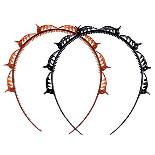 GeekerChip haarreif mit klammern[2 Stück]frisurenhilfe,Twist Clip Stirnband mit Zahnstirnband Braid Tool,Haarschmuck-DIY Haarband für für Männer und Frauen