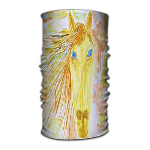 Grappige Quick Dry Microfiber Hoofddeksels Outdr Magic Bandana Als Nek Gaiter Hoofd Wrap Hoofdband Sjaal Gezicht Masker Ultra Zachte Elastische Een Size kinderen s tekening aquarel paard helder oranje Elementen