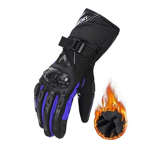 DJLHN Guantes de Moto Guantes Guantes de Motociclismo Guantes de Motos Guantes Transpirables Dedo Completo 100% Impermeable Resistente al Viento Invierno - WP-02 Azul, XXL XXL