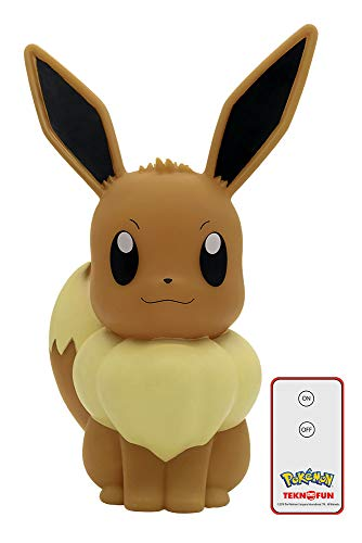 Teknofun- Evoli télécommandé Pokemon Lampe LED 3D, 811242, Marron, 30cm