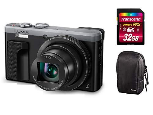 Panasonic Lumix DMC-TZ81-EG-S Silber Digitalkamera Set + Tasche + 32 GB Speicherkarte Travellerzoom Kamera (18,1 Megapixel, Leica Objektiv mit 30x Opt. Zoom, 4K Foto und Video, Sucher) (Silber)