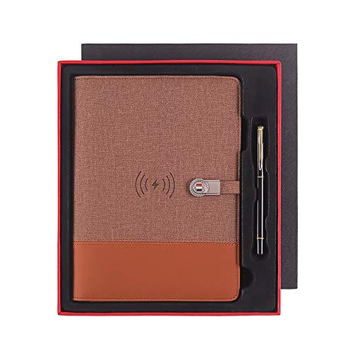 Portátil Empresarial Multifuncional Qi Carga Inalámbrica 8000 Mah Power Bank Notebook Binder Spiral Diary Planner para iPhone Y Android