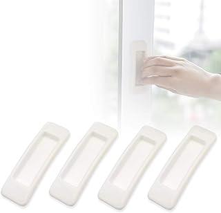 Lot de 4 poignées autocollantes pour armoires de cuisine, fenêtres, tiroirs, armoires, réfrigérateurs (blanc).