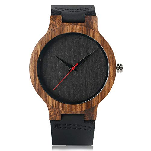 YJRIC Reloj de Madera Reloj de Cuarzo de bambú de Madera Hecho a Mano para Hombre, Correa de Reloj de Cuero Negro, Reloj de Pulsera Moderno único y Simple, Regalo para Hombre y Mujer