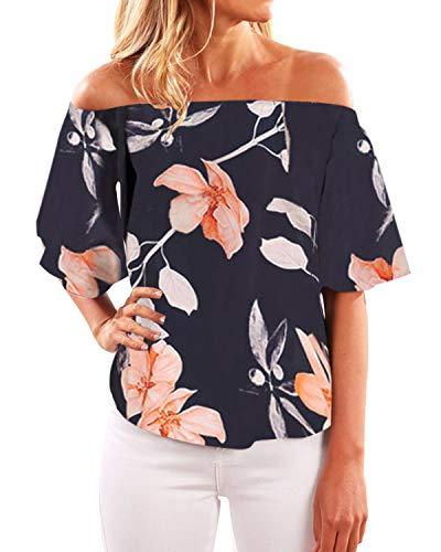 YOINS Off Shoulder Top Tunika Damen Bluse Elegant Schulterfrei Oberteil für Damen Blumenmuster-06 EU40-42