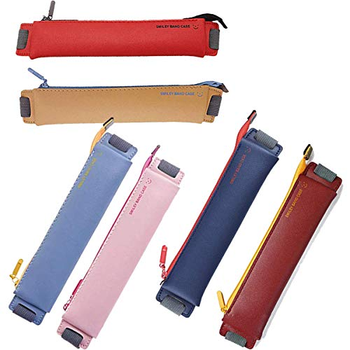 Fanbay 6-Pack PU Leather Pen Pencil Pouch Sleeve Holder with Elastic Band for Bible jounal Book Notebook
