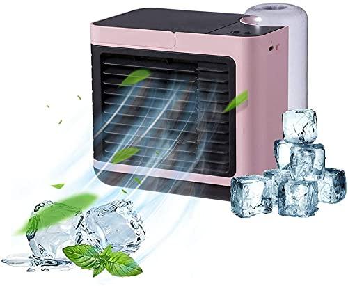 BIIII Aire acondicionado móvil, mini enfriador de aire, carga USB silenciosa y 3 velocidades ajustables y luz nocturna cálida, para el hogar, dormitorio, oficina, al aire libre