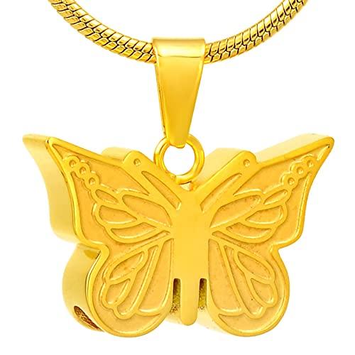 NIUBKLAS Collares para Cenizas Collar Colgante urna Caja Forma de Mariposa Cuatro Colores Pueden ser y Venta al por Menor