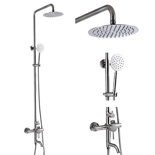 Juego completo de grifo de ducha de acero inoxidable SUS304, con sistema de ducha de triple función, de 8 pulgadas, ajustable, de níquel cepillado