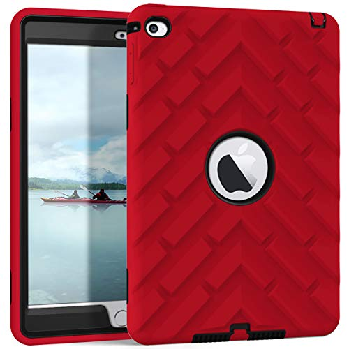 iPad Mini 4 Case, iPad A1538/A1550 Case, Hocase Rugged Shockproof Anti-Slip Hybrid Hard Shell+Silicone Rubber Bumper Protective Case for Apple iPad Mini 4th Generation 2015 - Red/Black