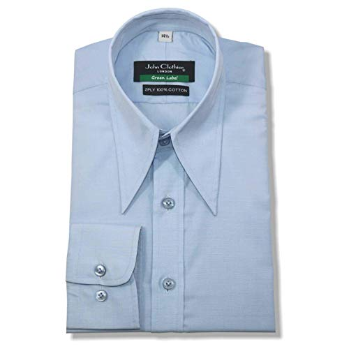 Photo of WhitePilotShirts Mens Spear Point Vintage Collar Shirt Sky Blue Cotton 1930s WWII Classic fit Gents New 1930's 1940's (14.5)