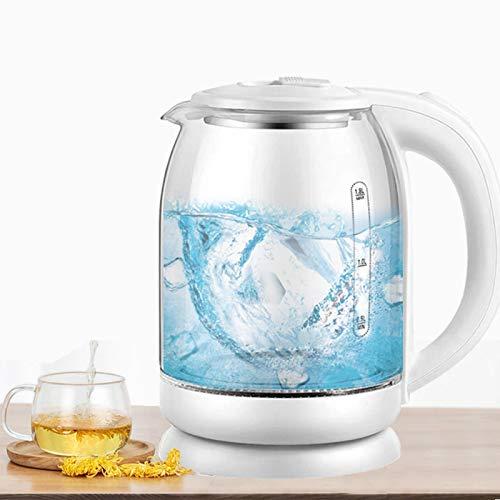 Hervidor eléctrico de vidrio 1.8L Calentamiento rápido Agua caliente Tetera Luz azul Calentador de olla Caldera Auto-Power Blanco