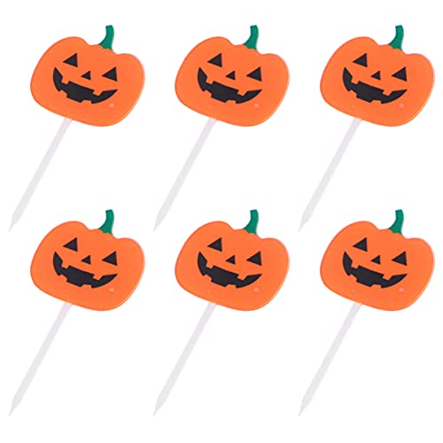 NOLITOY 6 Piezas de Palillos Acrílicos para Pasteles de Calabaza Palillos de Dientes de Desierto Brochetas de Frutas para Fiestas de Cumpleaños de Halloween ( Naranja Negra )