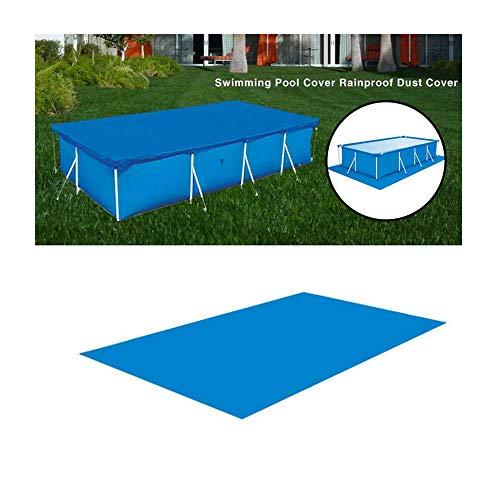ZHENN Grande Tapis de Sol de Piscine pour Piscine Hors Terre, Tapis de Piscine Tapis de Sol rectangulaire Pliable Polyester pour Piscine Jardin Plein air Bleu,295x206cm