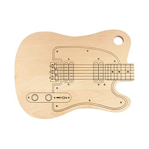 Casa Vivente Schneidebrett E-Gitarre, Frühstücksbrettchen aus hellem Holz mit Aufhängung, Geschenkidee für Musikfans