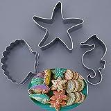 YUXIAN 3 Unids/Set Ocean Sea Star Shells Sea HorseFondant Molde de ChocolateHerramientas de decoración de Hornear DIY Gadgets