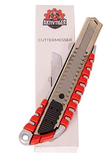 AKTIVTIGER Cuttermesser Alu 18mm - Teppichmesser Paketmesser als universelles Arbeitsmesser